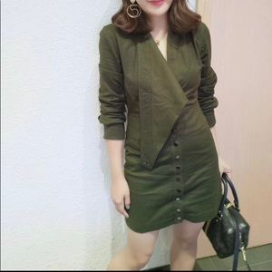 Khaki green utility dress